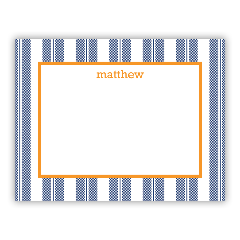 Vineyard Stripe Navy Small Flat Stationery Note