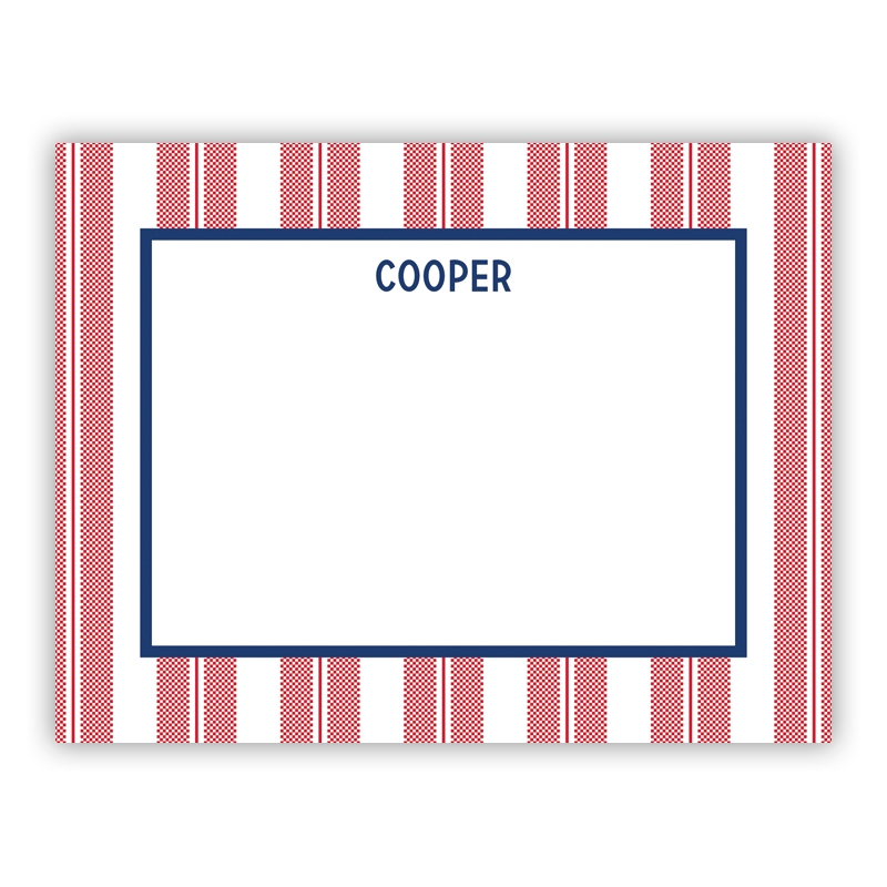 Vineyard Stripe Cherry Small Flat Stationery Note