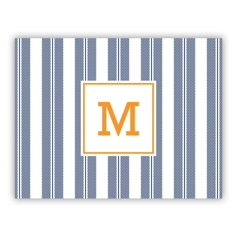 Vineyard Stripe Navy Stationery, 25 Foldover Notecards