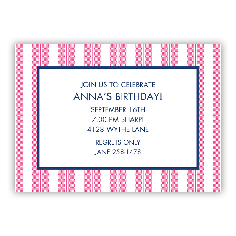 Vineyard Stripe Raspberry Invitaton or Announcement,  set of 25