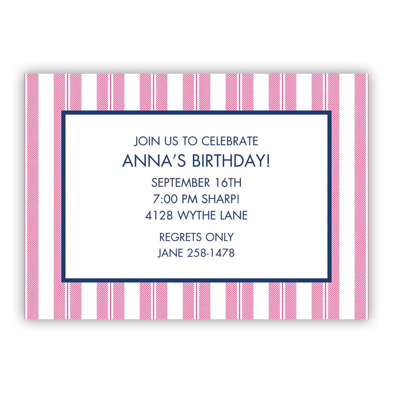 Vineyard Stripe Raspberry Invitaton or Announcement,  set of 25