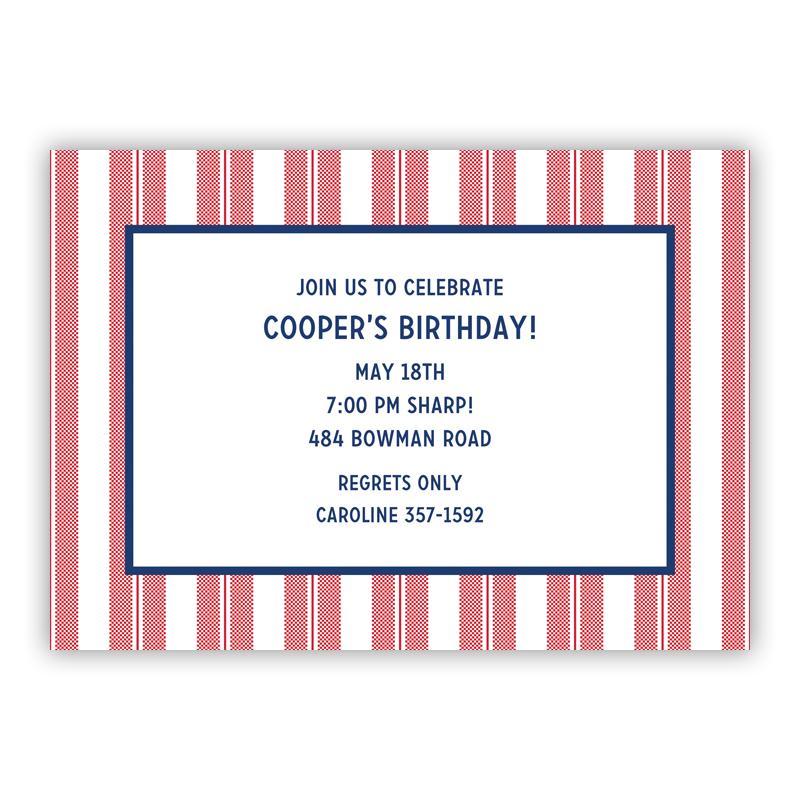 Vineyard Stripe Cherry Invitaton or Announcement,  set of 25