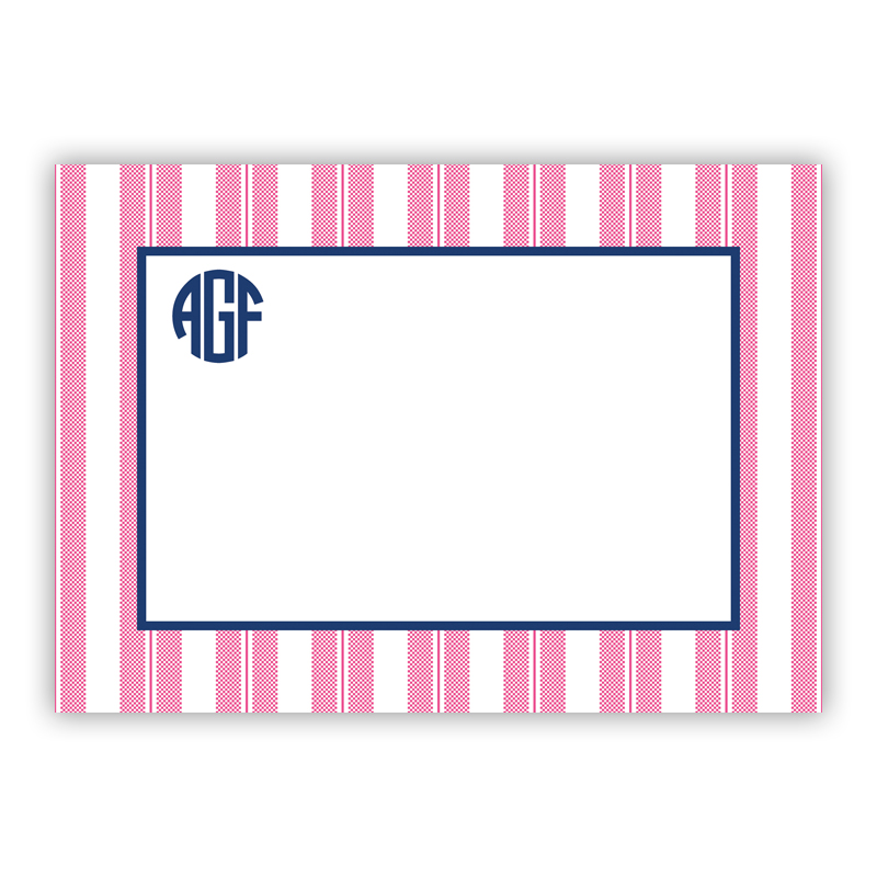 Vineyard Stripe Raspberry Stationery, 25 Flat Notecards