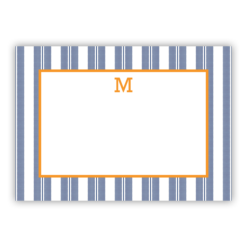 Vineyard Stripe Navy Stationery, 25 Flat Notecards