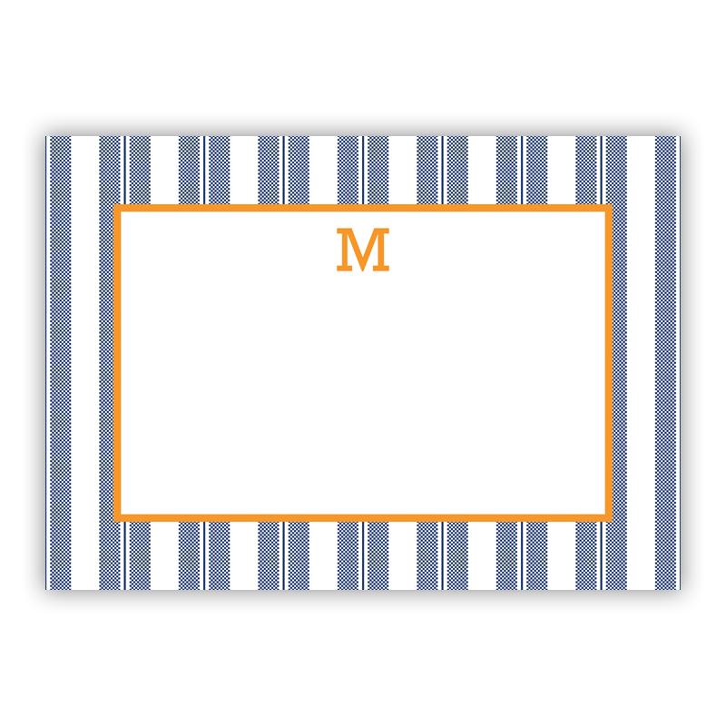 Vineyard Stripe Navy Stationery, 25 Flat Notecards