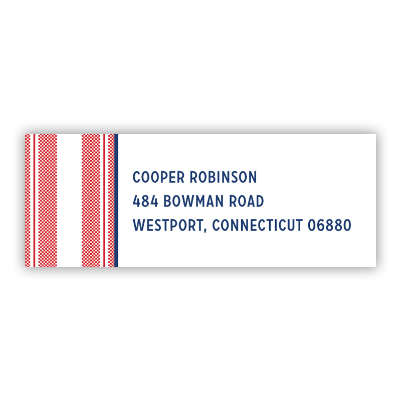 Vineyard Stripe Cherry Return Address Label, 90 labels