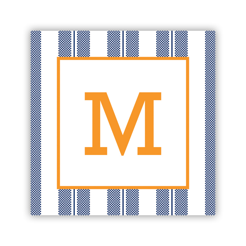 24 Personalized Vineyard Stripe Navy  Square Stickers