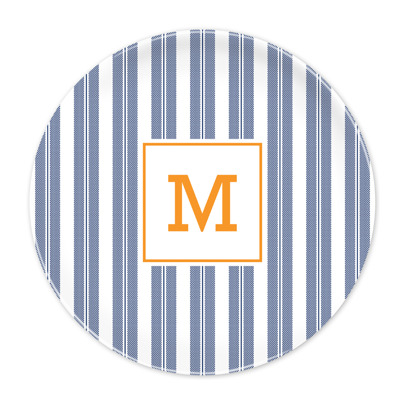 Personalized Vineyard Stripe Navy 10 inch Plate