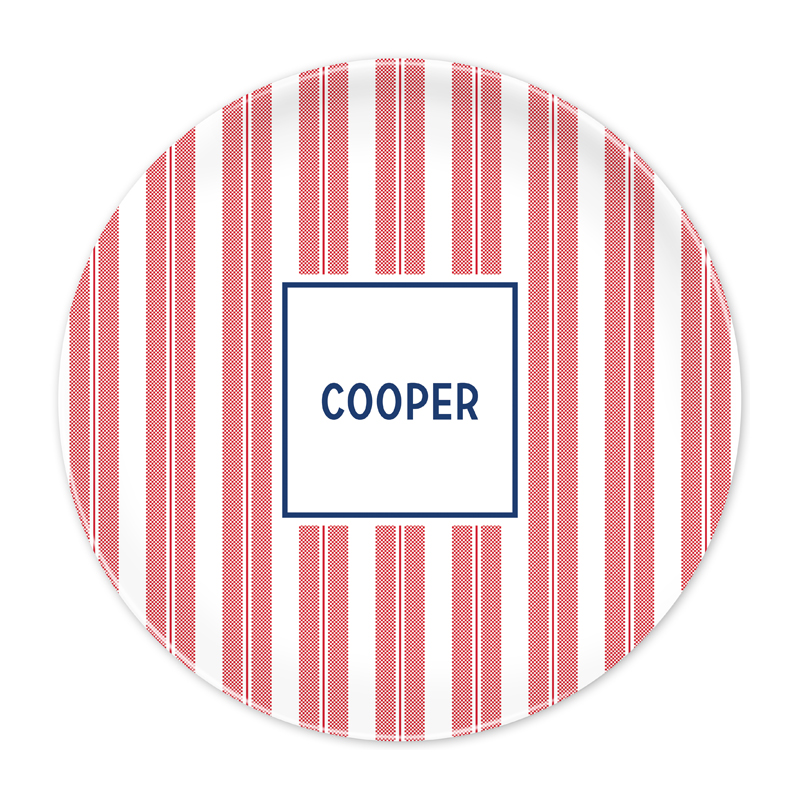 Personalized Vineyard Stripe Cherry 10 inch Plate