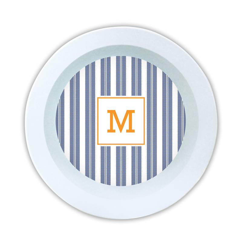Vineyard Stripe Navy Personalized 5 inch Round Bowl