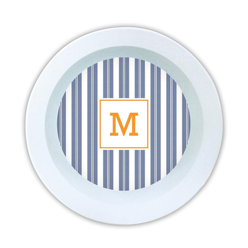 Vineyard Stripe Navy Personalized 5 inch Round Bowl