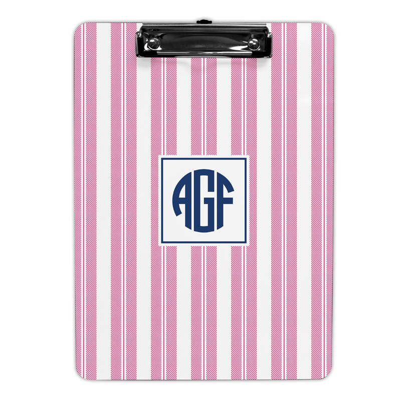 Vineyard Stripe Raspberry Clipboard, Personalized