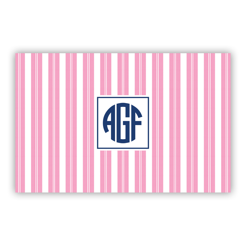 Vineyard Stripe Raspberry Disposable Personalized Placemat, 25 sheet pad