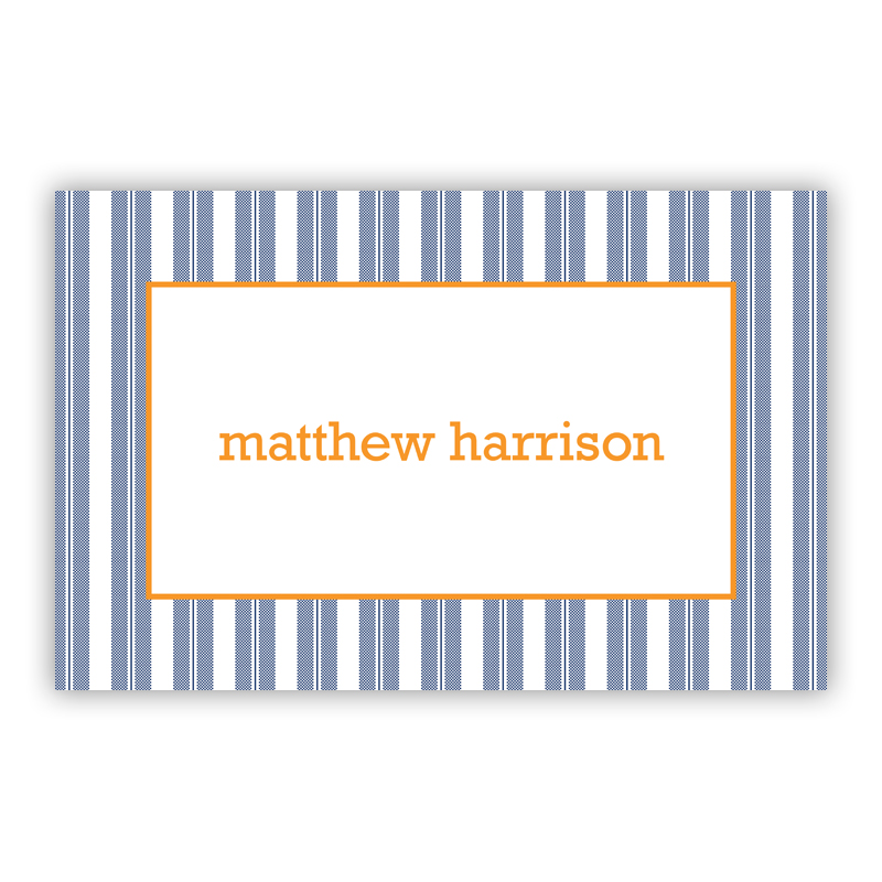 Vineyard Stripe Navy Disposable Personalized Placemat, 25 sheet pad