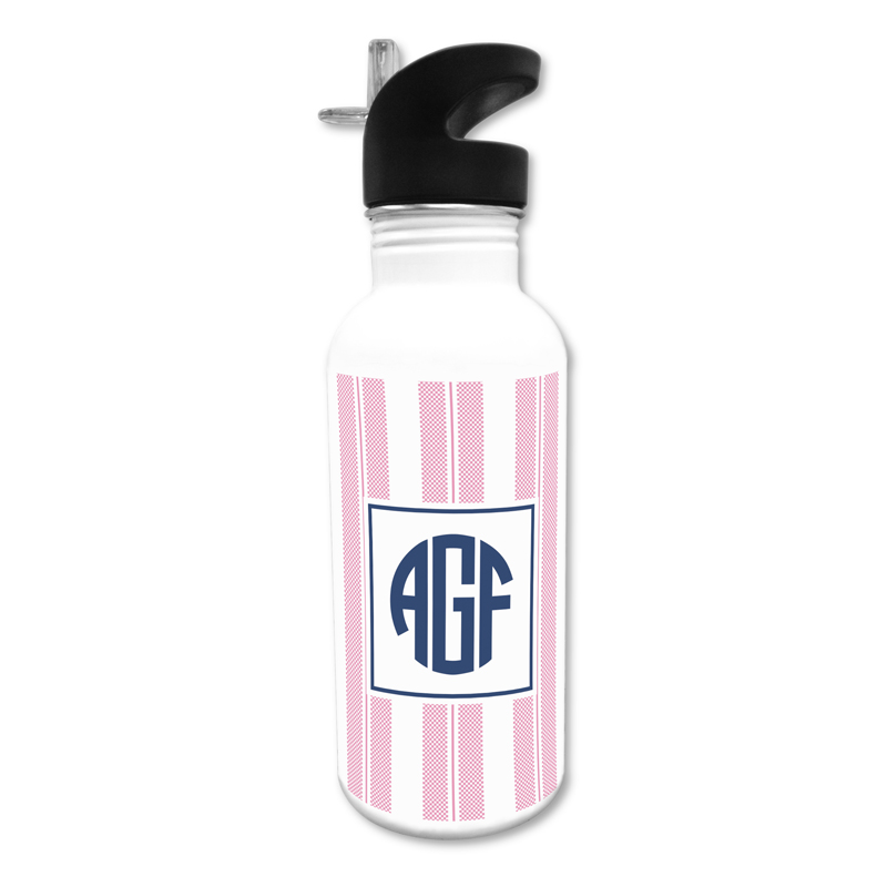 Vineyard Stripe Raspberry 20 oz Water Bottle, Personalized