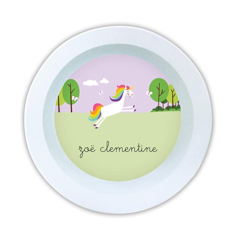 Unicorn Personalized 5 inch Round Bowl