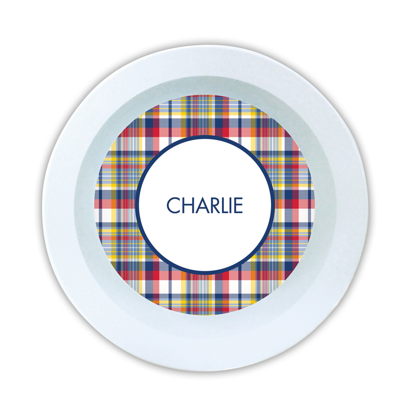 Classic Madras Plaid Navy & Red Personalized 5 inch Round Bowl