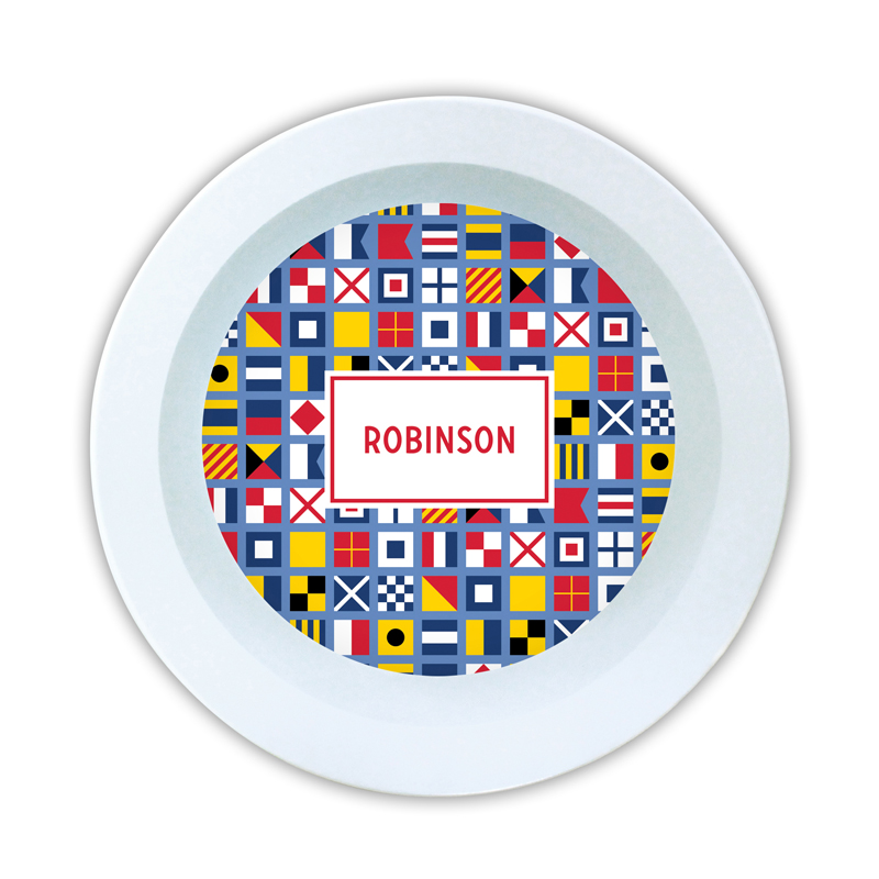 Nautical Flags Personalized 5 inch Round Bowl