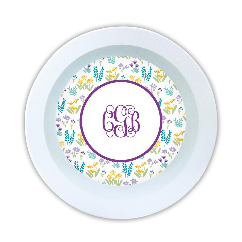 Flower Fields Purple Personalized 5 inch Round Bowl