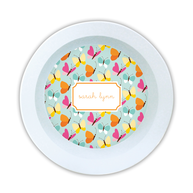 Flutter Teal Personalized 5 inch Round Bowl