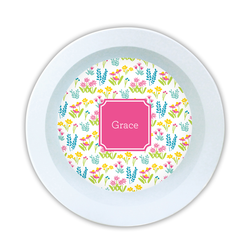 Flower Fields Pink Personalized 5 inch Round Bowl