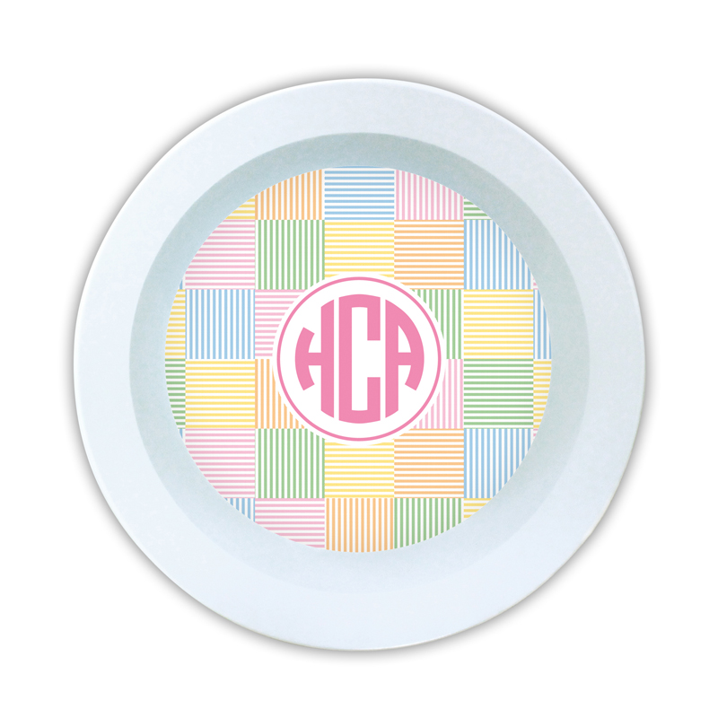Seersucker Patch Pink Personalized 5 inch Round Bowl