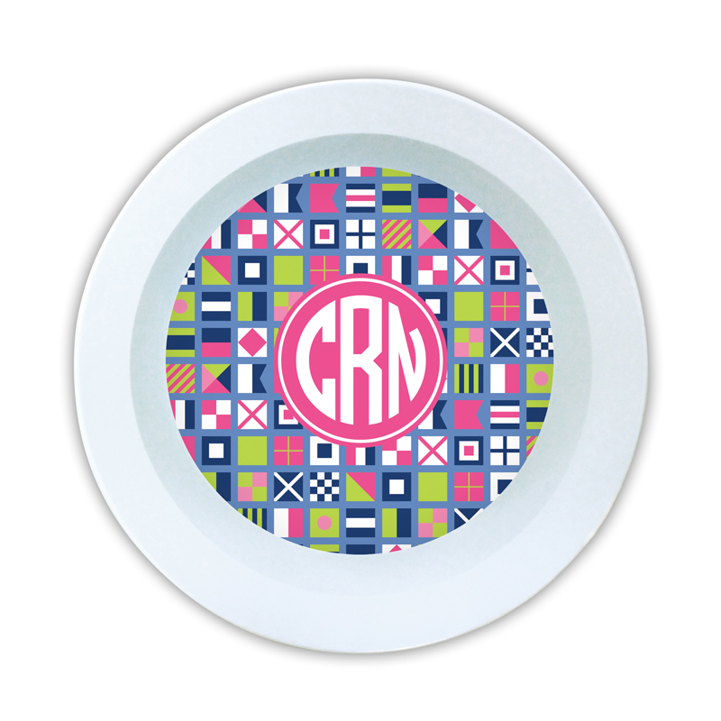 Nautical Flags Pink Personalized 5 inch Round Bowl