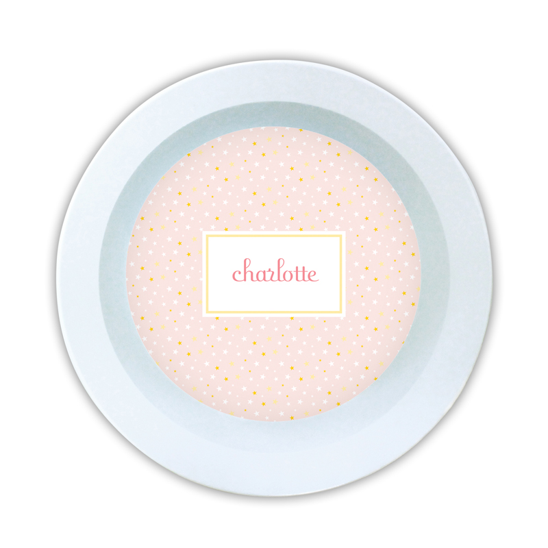 Twinkle Star Pink Personalized 5 inch Round Bowl