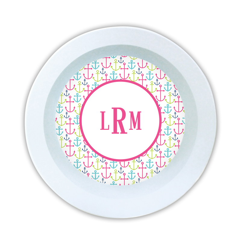 Happy Anchors Pink Personalized 5 inch Round Bowl