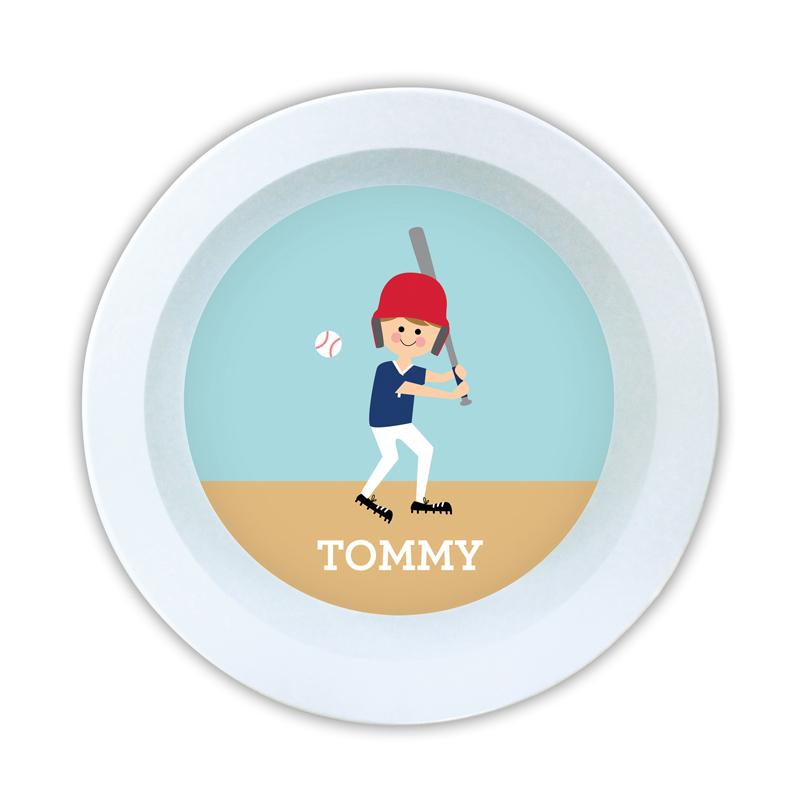Baseball Player Customized Kid Personalized 5 inch Round Bowl