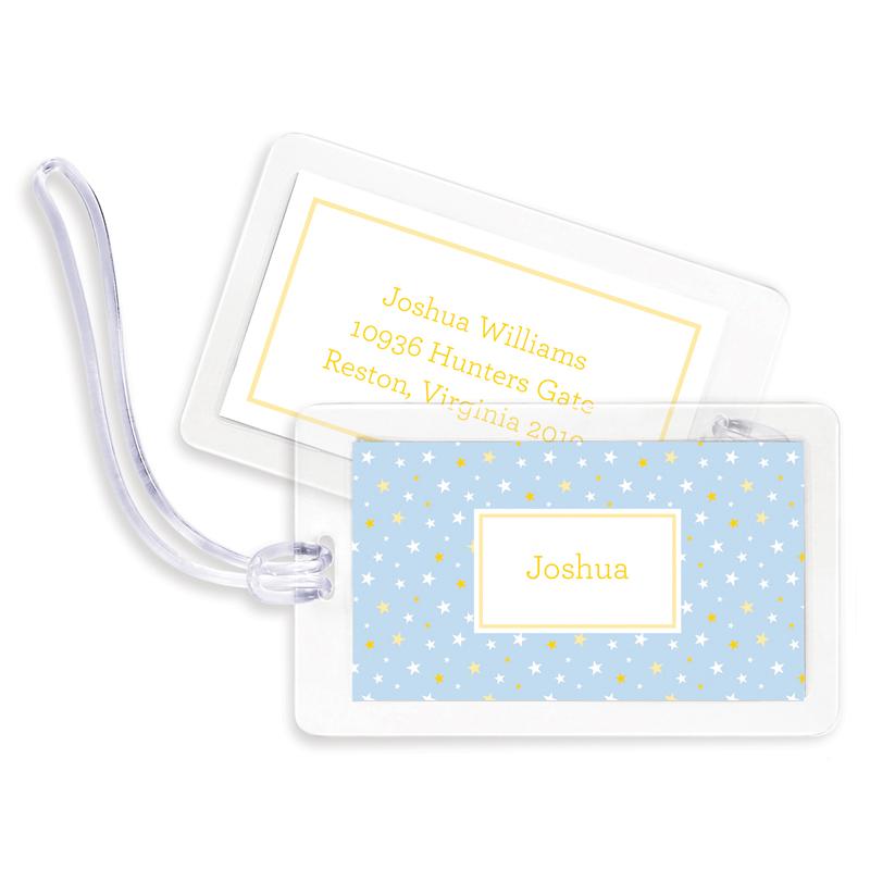 Twinkle Star Light Blue Bag Tags, Set of 4