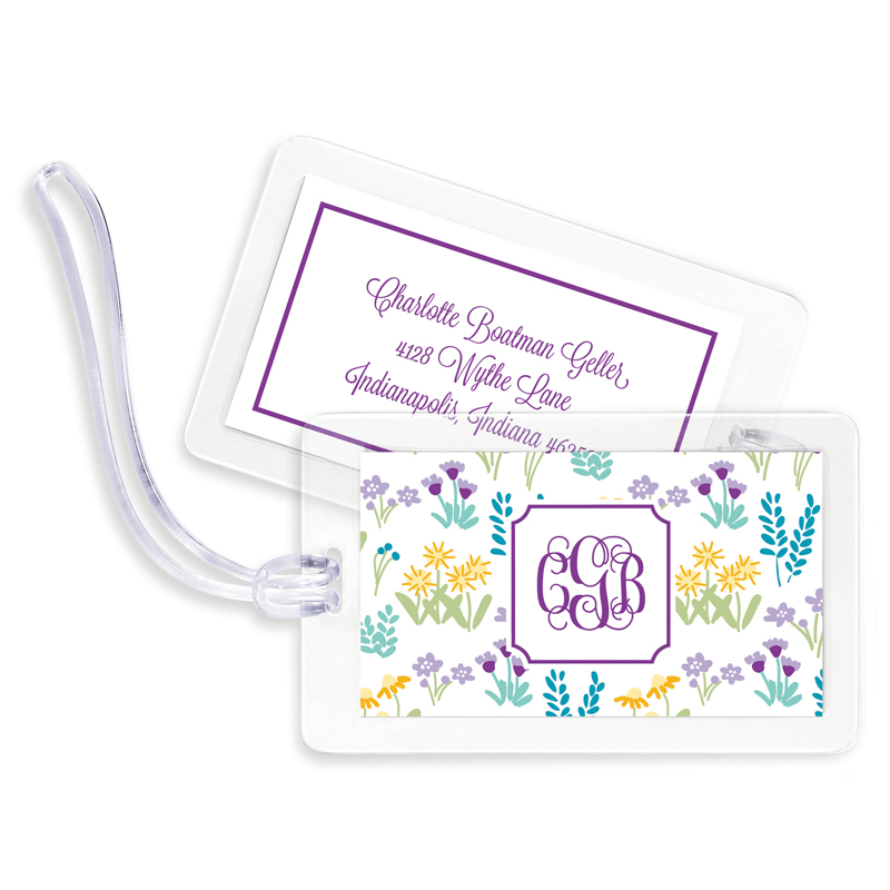 Flower Fields Purple Bag Tags, Set of 4