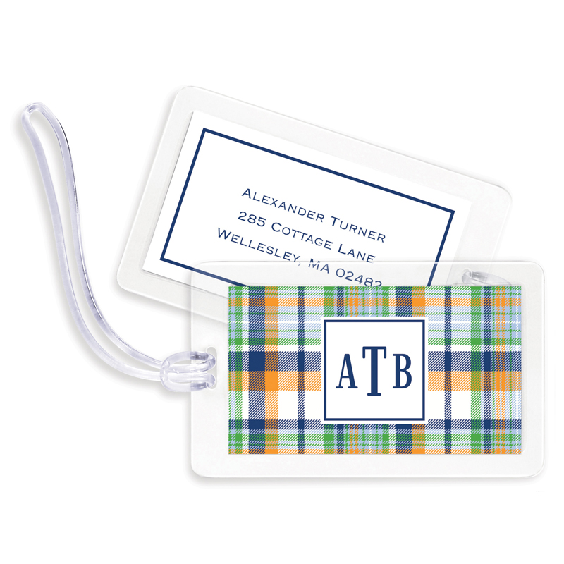 Classic Madras Plaid Navy & Orange Bag Tags, Set of 4
