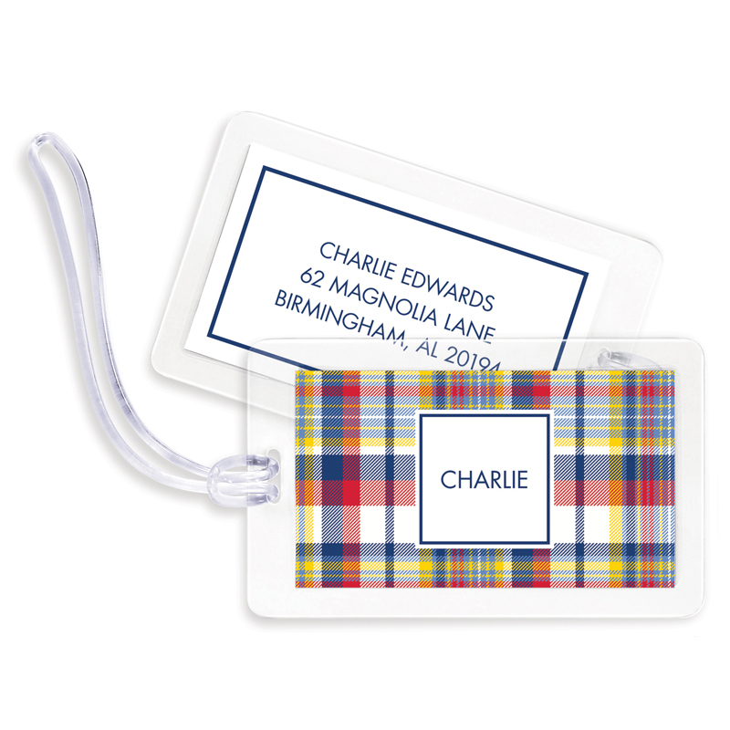 Classic Madras Plaid Red & Navy Bag Tags, Set of 4
