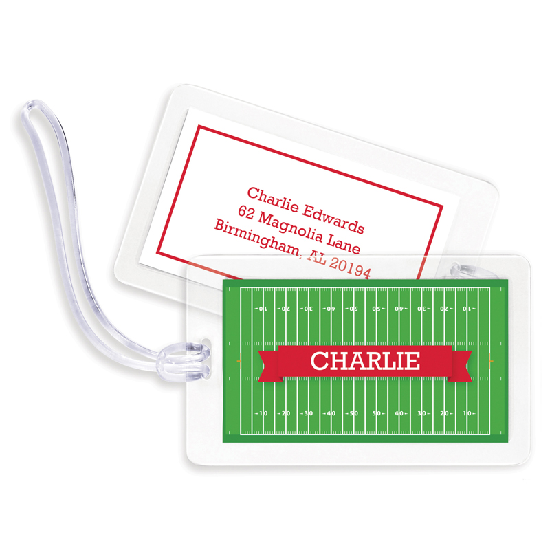 Football Field with Pink or Red Banner Bag Tags, Set of 4