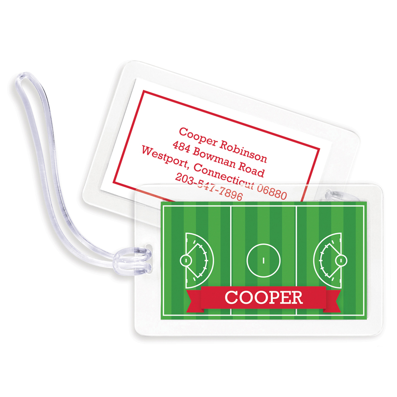 Lacrosse Field with Pink or Red Banner Bag Tags, Set of 4