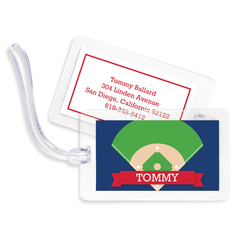 Baseball Diamond with Pink or Red Banner Bag Tags, Set of 4