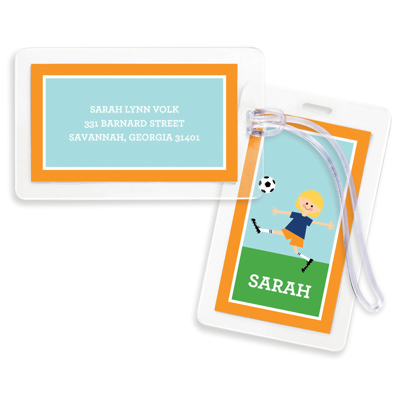 Soccer Player Customized Kid Bag Tags, Set of 4