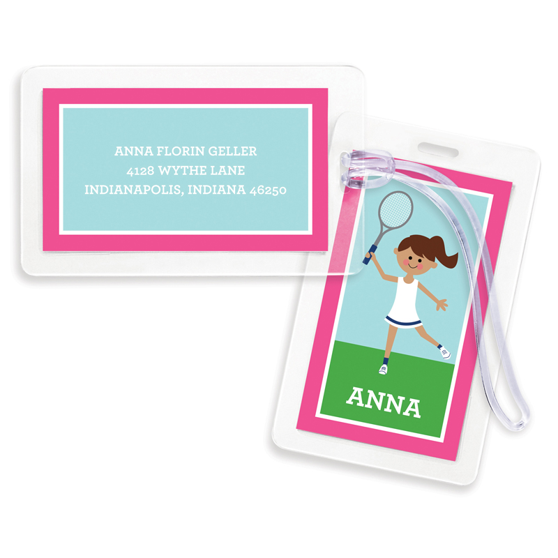 Tennis Player Customized Kid Bag Tags, Set of 4