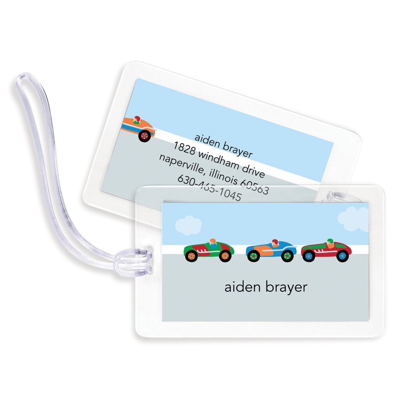 Race Cars Bag Tags, Set of 4