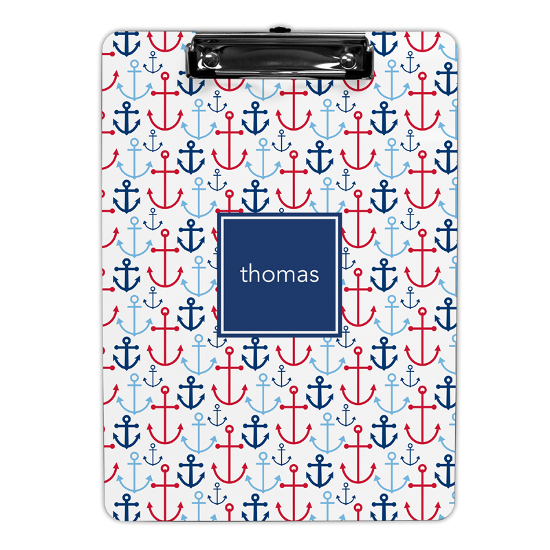Happy anchors Blue Clipboard, Personalized