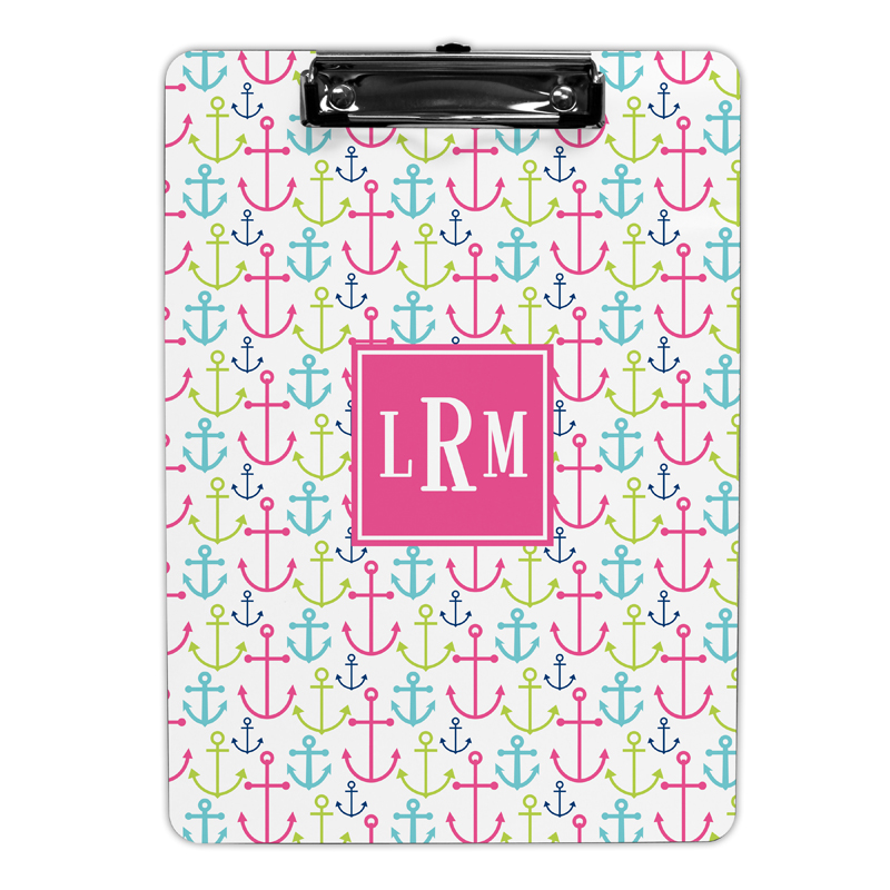 Happy Anchors Pink Clipboard, Personalized