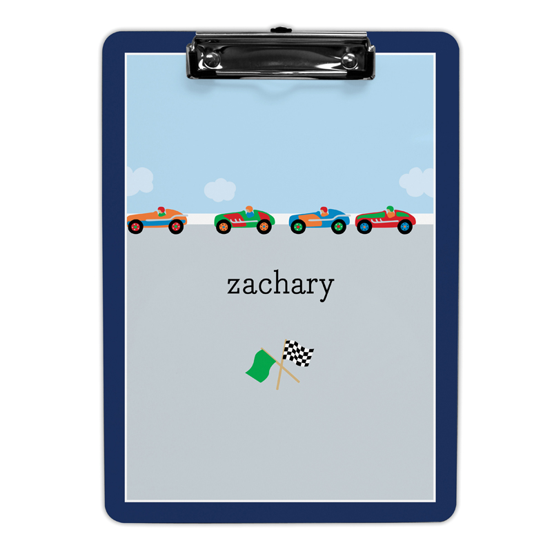 Race Cars Clipboard, Personalized