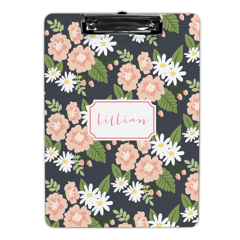 Lillian Floral  Clipboard, Personalized