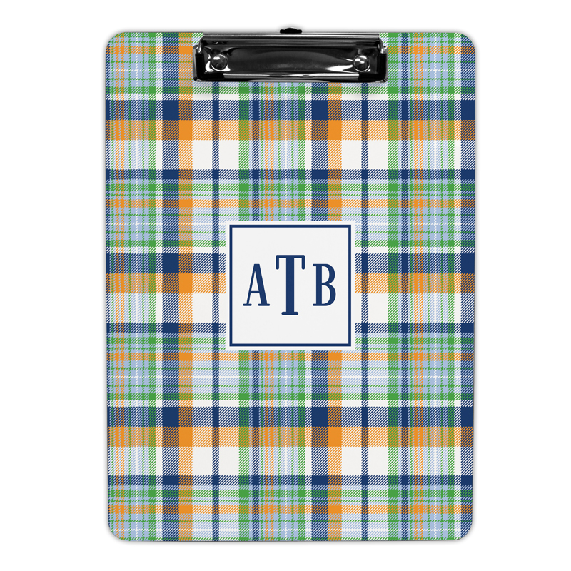 Classic Madras Plaid Navy & Orange Clipboard, Personalized