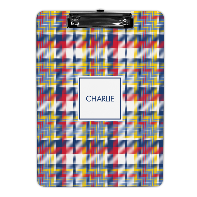 Classic Madras Plaid Navy & Red Clipboard, Personalized