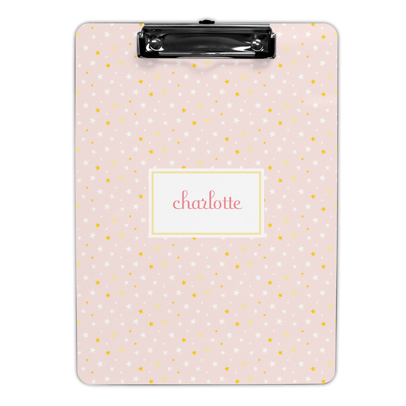 Twinkle Star Pink Clipboard, Personalized