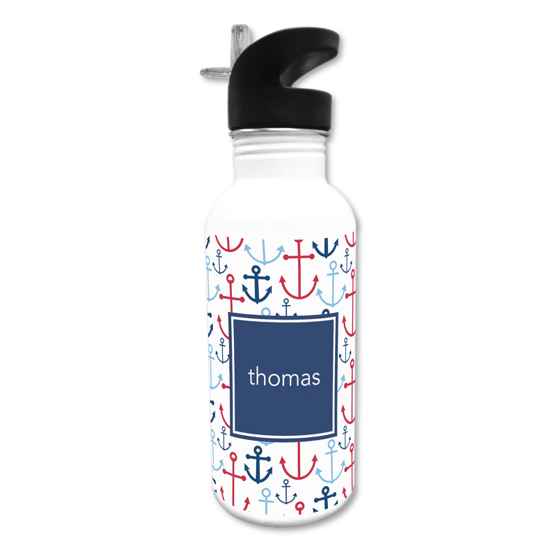 Happy Anchors Blue 20 oz Water Bottle, Personalized