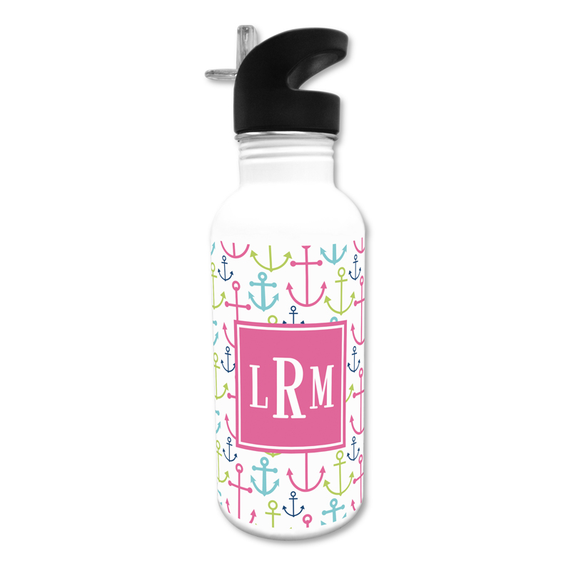 Happy Anchors Pink 20 oz Water Bottle, Personalized