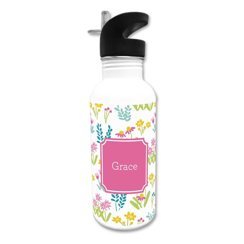 Flower Fields Pink 20 oz Water Bottle, Personalized